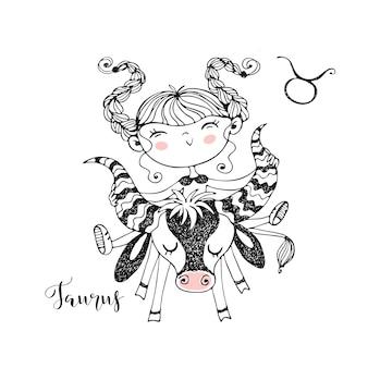 Signe du zodiaque taureau. horoscope pour enfants drôle dans le style doodle.