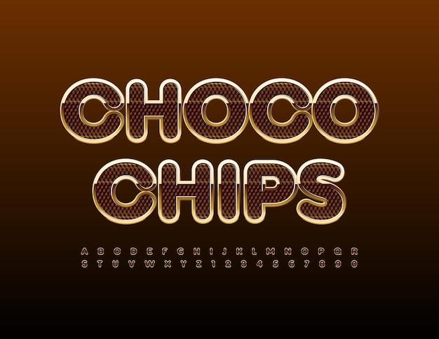 Signe d'élite de vecteur choco chips lettres et chiffres de l'alphabet élégant mis police texturée de luxe