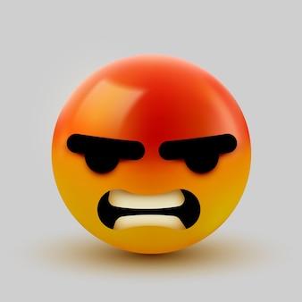 Signe d'emoji en colère et fou 3d. conception d'icône émoticône pour réseau social.