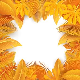 Signe avec espace de texte de feuilles tropicales jaunes