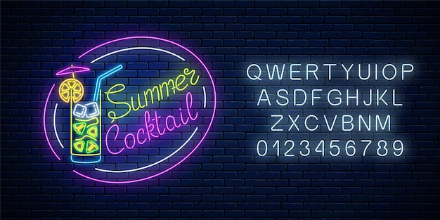 Signe d'été au néon de cocktail avec parapluie et alphabet