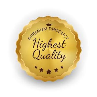 Signe d'étiquette d'or de la plus haute qualité.