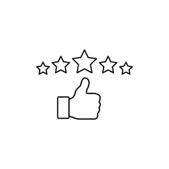 Signe d'évaluation des commentaires. le pouce vers le haut et le symbole des étoiles dans un style linéaire sur fond blanc. vecteur eps 10