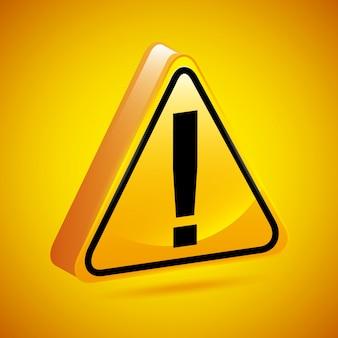 Signe d'exclamation au cours de l'illustration vectorielle fond jaune
