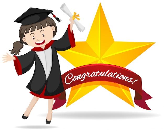 Signe de félicitation avec une fille tenant l'illustration du diplôme