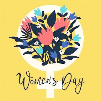 Signe de femme avec des fleurs bouquet.