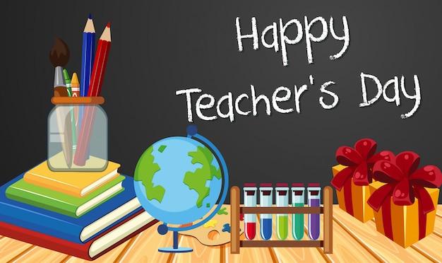 Signe de la fête des enseignants heureux avec ensemble d'éléments stationnaires