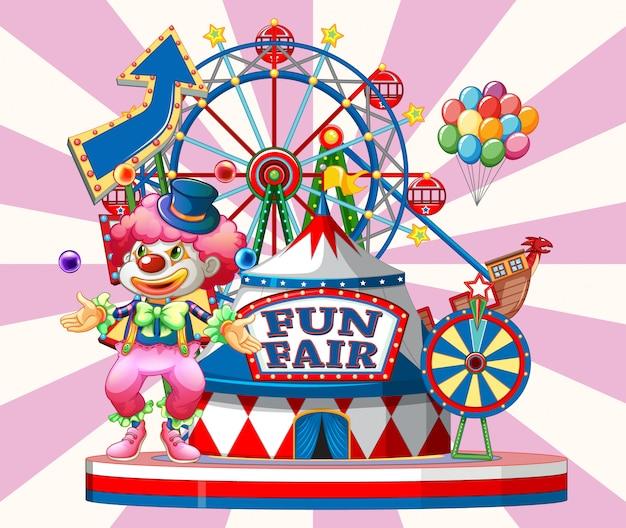 Signe de la fête foraine avec clown heureux et de nombreux manèges