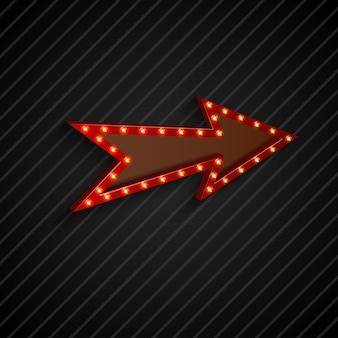 Signe de la flèche avec des ampoules sur fond noir