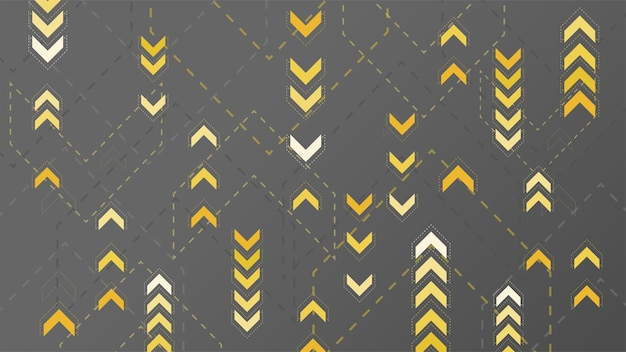 Signe de flèches jaunes abstraites sur fond sombre