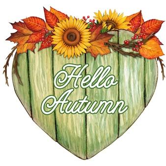 Signe en forme de coeur en bois d'aquarelle avec des décorations d'automne