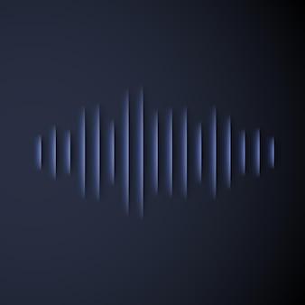 Signe de forme d'onde sonore coupé en papier avec ombre
