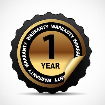 Signe de garantie de vecteur or, étiquette de garantie d'un an