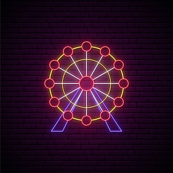 Signe de la grande roue au néon.