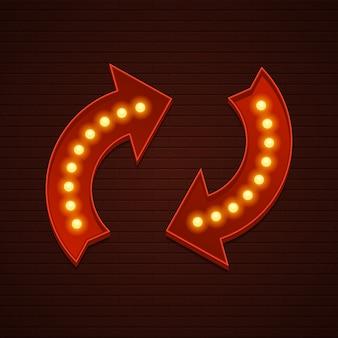 Signe de l'heure de retour rétro ampoules de signalisation de cinéma flèches