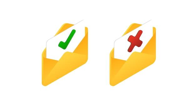 Signe incorrect correct isométrique jeu d'icônes de marque isométrique correct et incorrect coche verte et croix rouge