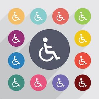 Signe d'infirmité, jeu d'icônes plat. boutons colorés ronds. vecteur