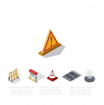 Signe jaune d'attention. illustration d'isométrie
