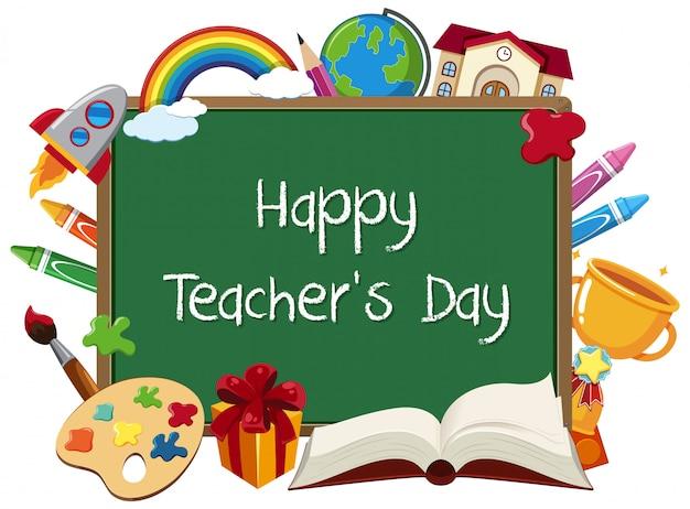 Signe de la journée des enseignants heureux avec ensemble d'éléments fixes sur tableau noir