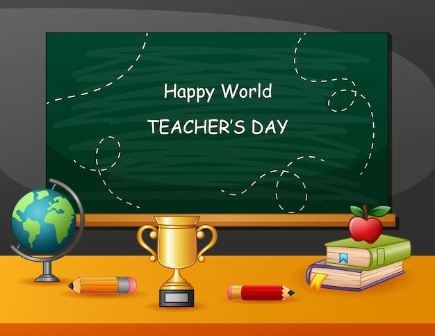 Signe de la journée des enseignants heureux avec ensemble d'éléments stationnaires