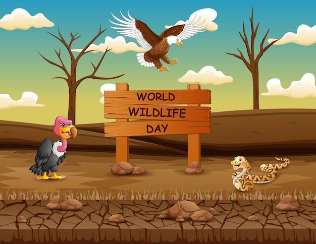 Signe de la journée mondiale de la faune avec des animaux dans la terre ferme