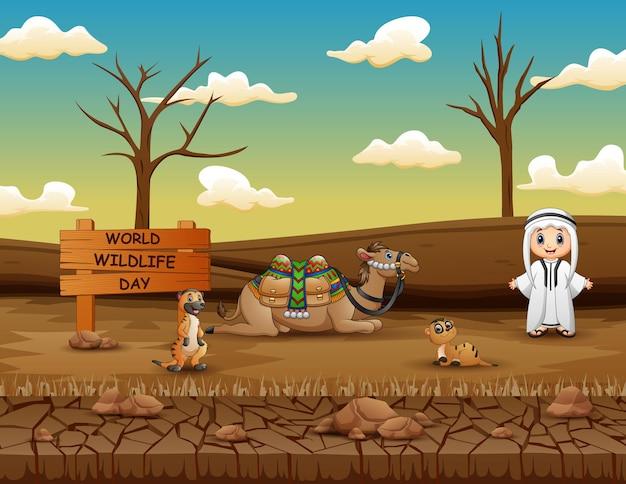 Signe de la journée mondiale de la faune avec garçon arabe et animaux