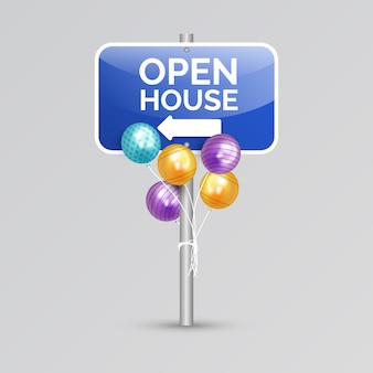 Signe de la journée portes ouvertes avec des ballons