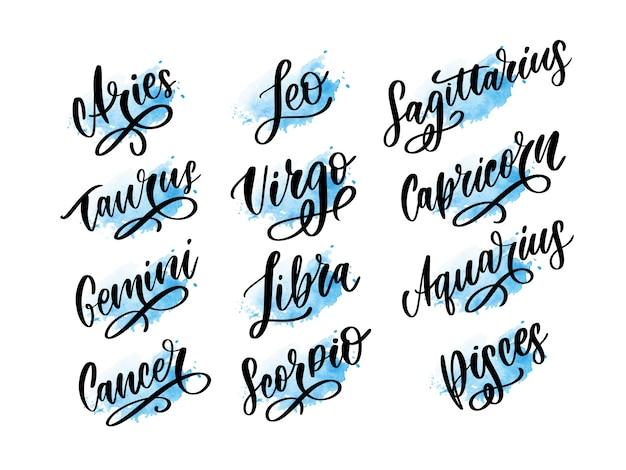 Signe de lettrage du zodiaque. illustration de texte de dessin animé astrologie. jeu d'icônes manuscrites horoscope.