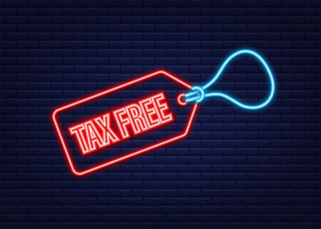 Signe libre d'impôt rouge moderne. icône néon. illustration vectorielle de stock.