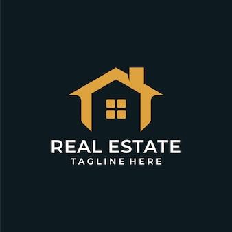 Signe de logo de maison de bâtiment immobilier moderne
