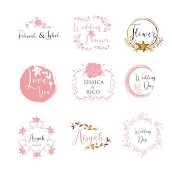 Signe de logo de modèle de planificateur de mariage féminin
