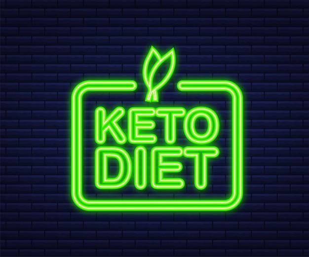 Signe de logo de régime cétogène. régime céto. icône néon. illustration vectorielle.