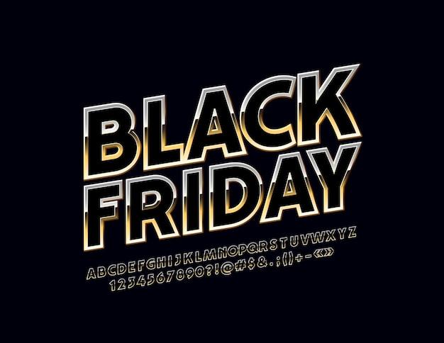 Signe lumineux noir vendredi des lettres et des chiffres de l'alphabet chic