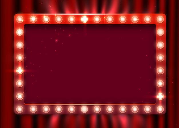 Signe lumineux rétro. bannière de style vintage sur fond de rideau. afficher l'heure