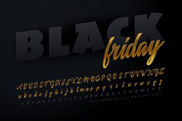 Signe lumineux vendredi noir. police noire et dorée.