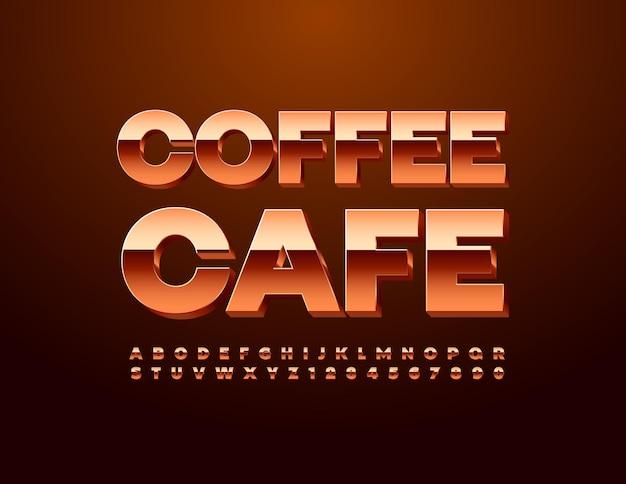 Signe de luxe coffee cafe glossy metallic font premium set de lettres et de chiffres de l'alphabet