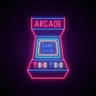 Signe de machine de jeu d'arcade au néon