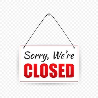Signe de magasin fermé. panneau de porte.