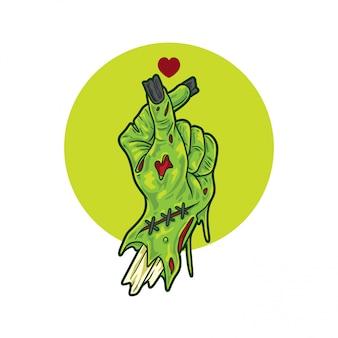 Signe de mains d'amour zombie
