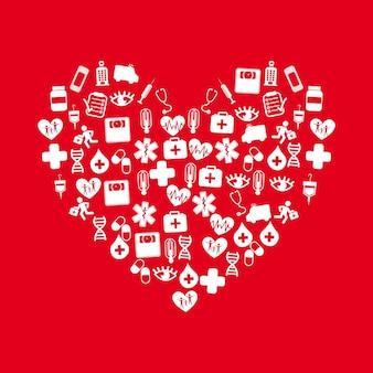 Signe de la médecine avec des icônes sur l'illustration vectorielle fond rouge