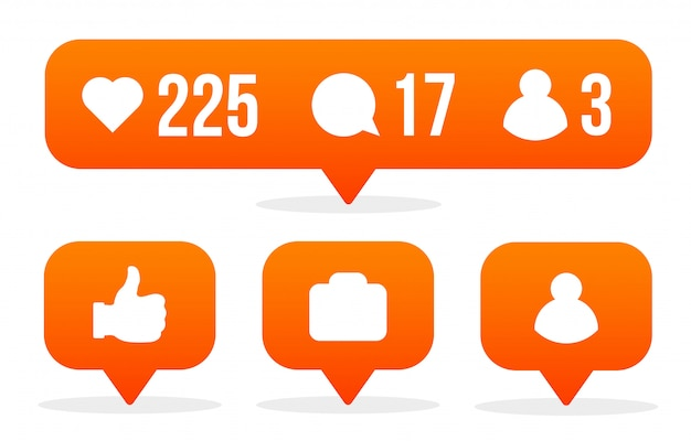 Signe de médias sociaux comme, suiveur, commentaire.