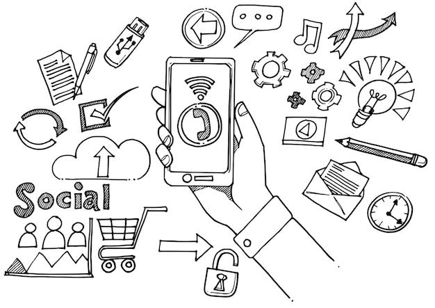 Signe de médias sociaux et doodles symbole
