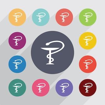 Signe médical, jeu d'icônes plat. boutons colorés ronds. vecteur