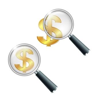 Signe de monnaie golden dollar avec loupe. rechercher ou vérifier la stabilité financière. illustration isolé sur fond blanc