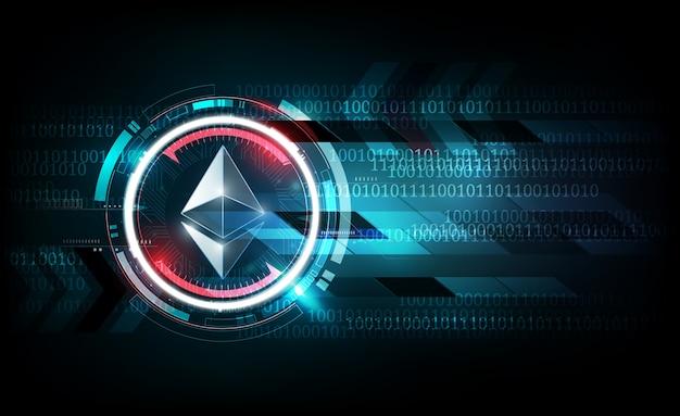 Signe de monnaie numérique ethereum sur le concept de technologie futuriste, illustration vectorielle