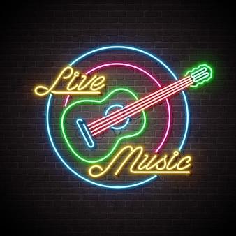 Signe de la musique au néon avec guitare et lettre