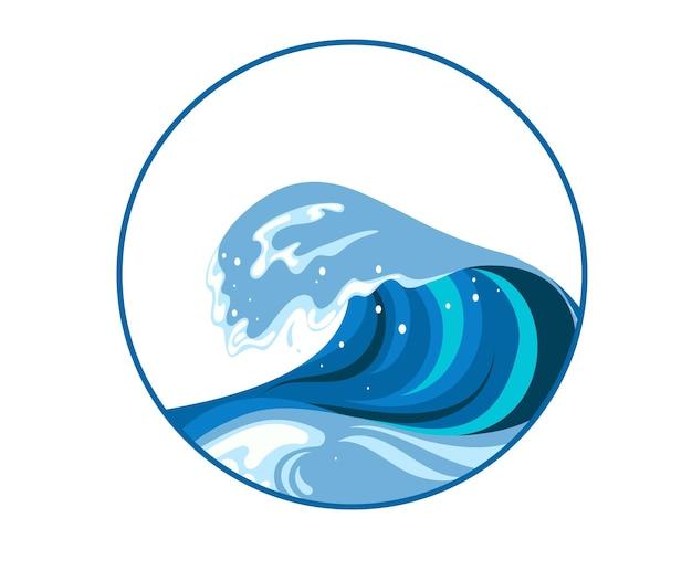 Signe d'onde tsumani dans un style cartoon plat. grande éclaboussure d'eau tropicale bleue avec de la mousse blanche. illustration vectorielle isolée sur fond blanc