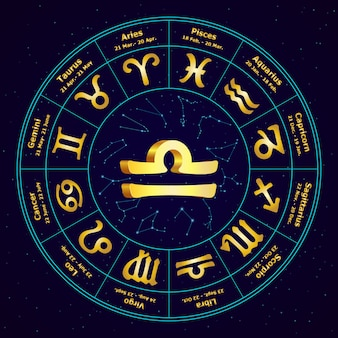 Signe en or du zodiaque balance en cercle