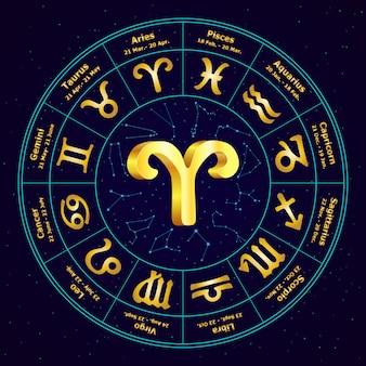 Signe d'or du zodiaque bélier en cercle.