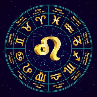 Signe en or du zodiaque lion en cercle